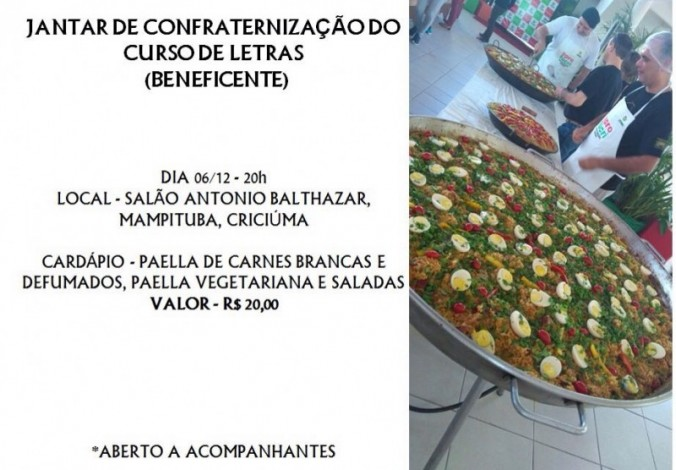 JANTAR BENEFICENTE DO CURSO DE LETRAS